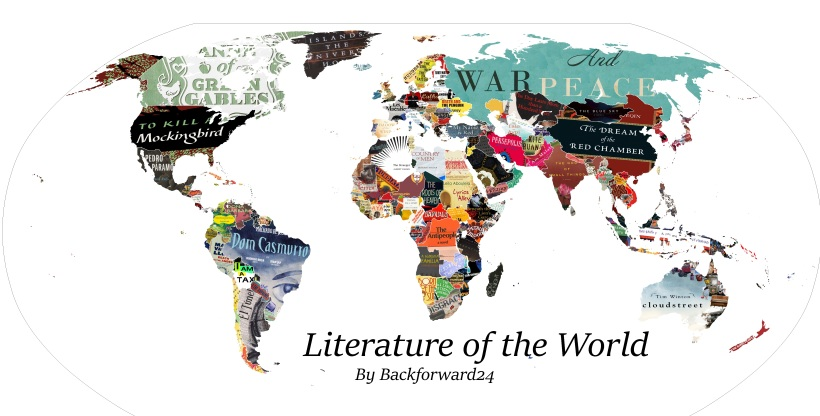 [Map] Literature Map of the World(5735×2913) - Imgur